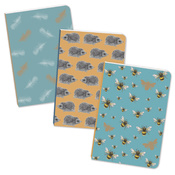 Lot de 3 mini Carnets de Notes hérisson, abeilles, plumes